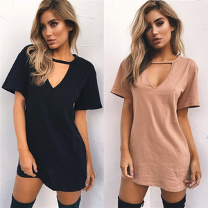 Women Short Dresses Ladies Sexy T-shirt Skirt Women Mini Dresses Deep V Collar Short Sleeve T-shirt Solid Loose 6