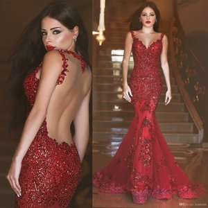 Wholesale Mermaid Prom Dresses 2019 robes de soiree Lace Appliques Tulle Burgundy Formal Evening Dress Abendkleid African Cheap Cocktail Party Gowns