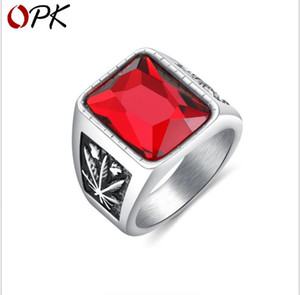 European and American Ring Retro Personality Broad Edition Men's Titanium Steel Ring Maple Glass Stone Ring on Sale