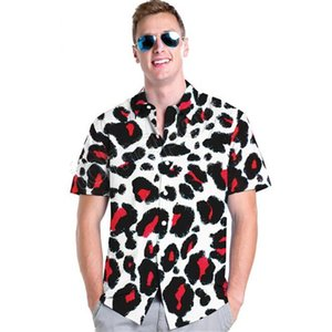 Wholesale Men Summer Red Leopard Slim European Style Short Sleeve Shirt Metrosexual Men Sexy Printed Casual Brand Fashion Shirts New Hot