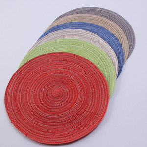 Wholesale 2pcs Round Ramie Table Mat Non Slip Heat Resistant Coffee Coaster Bowl Plate Pad Tea Breakfast Soup Placemats hj16 C1