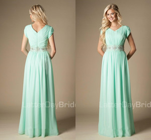 Beaded Mint Green Bridesmaid Dresses 2020 Modest A-Line Chiffon Formal bohemian country Maid of Honor Dress Wedding Guest Gown on Sale