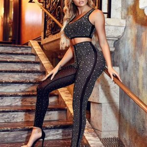 2019 New 2 Piece set Celebrity Bodycon Bandage Playsuit Fashion Sexy Black Polyester Women Jumpsuits Diamante Mesh See-Through Casual suits on Sale