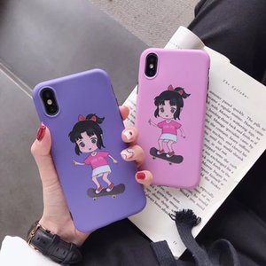 Wholesale Cartoon Pattern Painted Skater Cover Purple Pink Soft TPU Case for iPhone X Lovely Cute Fashion Anti Scratch Anti Fingerprint Phone Case
