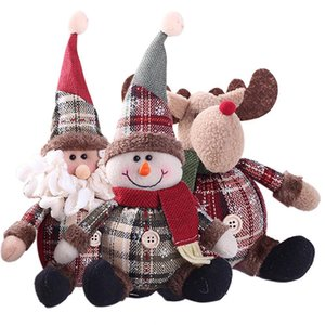 Wholesale Home Table Elk Toys Plush Stuffed Festival Party Xmas Tree Decor Santa Claus Doll Christmas Hanging Snowman Ornament