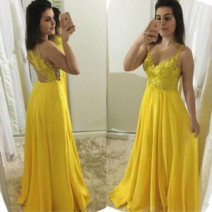 Wholesale Yellow A Line Prom Dresses Long Spaghetti Straps Top Lace Appliques Full Length Chiffon Formal Evening Gowns Sexy vestidos de fiesta