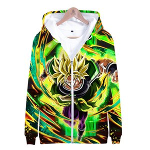Wholesale 2019 HIP HOP FASHION anime D Super Broly series Zipper sweater for men and women casual comfort Zipper sweater