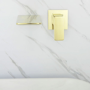 Rose Gold and Golden Brass Wall Mounted Bathroom Basin Faucet Cold And Hot Washbasin Waterfall Tap