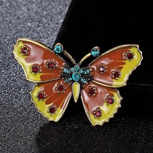Wholesale Zlxgirl jewelry yellow Enamel butterfly broches women s Clothing accessories Carton hijab accessories punk brooch bags bijoux