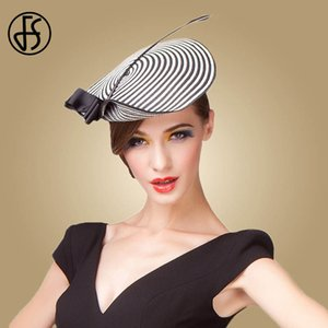 Fs Fascinator Wedding Hats For Women Elegant Black White Feather Striped Cupid Pillbox Hat Vintage Cocktail Lady Church Fedoras Y19070503