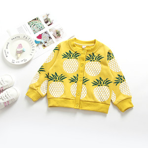 Wholesale Autumn new baby ins explosion models cartoon Pineapple cotton Cardigan coat kids designer clothes girls baby girl clothing
