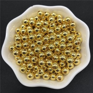 Wholesale 4mm mm mm mm Golden Imitation Pearls Acrylic Beads Round Pearl Spacer Loose Beads For Jewelry Making