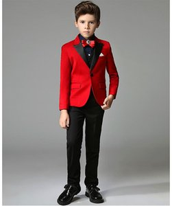 Wholesale happy_child -- Hot Red Boys Formal OccasionTuxedos Black Peak Lapel Side Vent Kids Wedding Tuxedos Child Suit (Jacket+Pants+Tie+Vest) NO:02