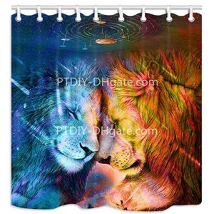 Wholesale Safari Lion Animal Lover in Rainbow Universe Astrology Shower Curtain Polyester Fabric Mildew Resistant Curtain for Bathroom Decor