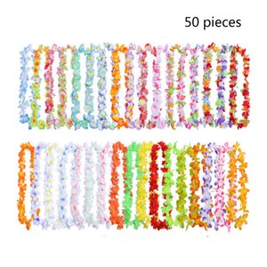 Wholesale Hawaiian Tropical Luau Flower Lei Theme Party Favors Garland Necklace Artificial Beach Wreath Wedding Birthday Decoration SH190920