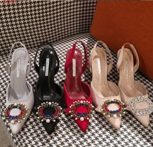Wholesale HOT Women high heel wedding dress luxury desiner shoes sexy ladys pumps Genuine Leather fashion girl s party studded rhinestone single shoes