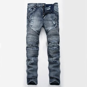 Men Jeans Grey Slim Skinny Man Biker Jeans with Zippers Designer Stretch Fashion Casual Pants Pencils Trousers
