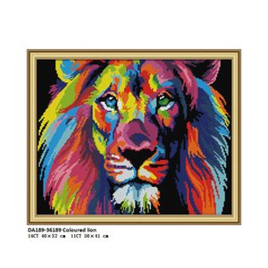 Wholesale DA189 Coloured lion Counted Printed on Fabric DMC CT CT Cross Stitch kits Embroidery Needlework Sets Crafts Home Decor