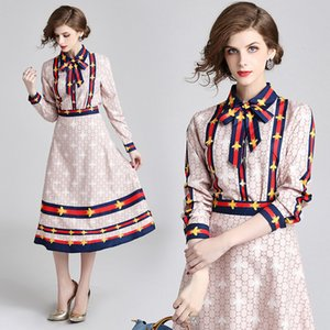 2019 Two Piece Women Ladies Sets Classic Letter Print Long Sleeve Shirt Dresses Luxury Ladies A-line Designer Skirt Casual Office Dresses