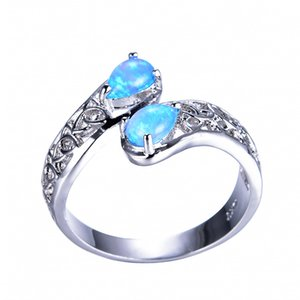 Wholesale 2 Valentine s Day Gift Flower Fashion Rings High Quality Vintage For Women Blue White Fire Opal Rings