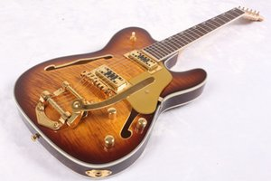 Custom Shop Semi hollow TLBody Electric Guitar ASH Body Sunburst guitar With Bigs by B500 Vibrato Tailpiece China guitar