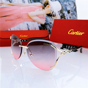 Wholesale Designer Oversized Frames Women Rimless Sunglasse Goggles Luxury Fashion Women Sunglasses Vintage Glasses High Quality With Box WX