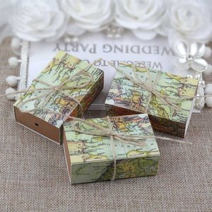 Wholesale Novelty World Map Gift Box Kraft Drawer Paper Candy Boxes for Guests Wedding Birthday Favors Gift Packaging Bag Supplies
