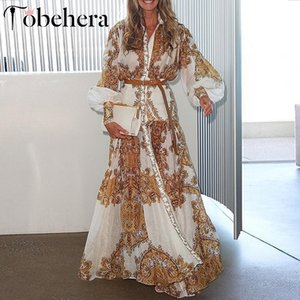 Wholesale Glamaker White Paisley Print Elegant Women Dress Summer Boho Maxi Beach Holiday Dress Split Long Casual Dress Festa Y190514