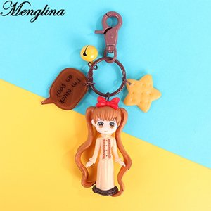 Wholesale Menglina Lovely Cartoon Character Girls Keychain Anime llaveros Mujer Resin Plastic Charm Key Rings Women Bag Accessories Gifts