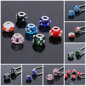 Wholesale Acrylic Charms Beads Silver Plated Cord Big Hole Loose Bead Fit Charms Bracelet Bangle Jewelry Finding Beads