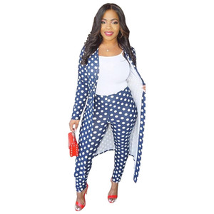Women Casual Autumn Two Piece Set Long Sleeve Dot Printed Cardigans Long Coat and Pencil Pants Q156 on Sale