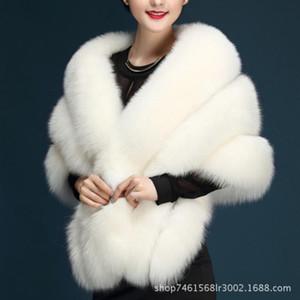 Luxurious Faux Fur Bridal Shawl Fur Wraps Marriage Shrug Coat Bride Winter Wedding Party Boleros Jacket Cloak Burgundy Black White Grey
