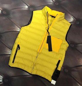 Wholesale Island stone Mens Designer Vest High Quality Small Stand Collar Wild Fashion Winter Vest Classic Zipper Warm Comfortable Couple Jacket