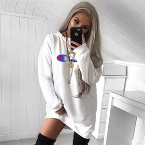 Wholesale Woman Champion Band Hoodie Dress Long Sleeve Blouses Oversize Loose Sports T shirt Tops Overalls Skirt Home Clothes Sportswear S XL A422