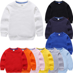 Wholesale Children's Sweatshirts Girl Kids White Tshirt Cotton Pullover Tops for Baby Boys Autumn Solid Color Bottoming Clothes 1-9 Years T190917