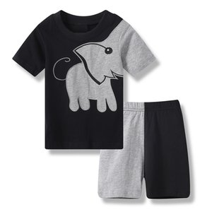 2019 Summer Baby Boy Clothes Suits Patchwork Elephant Black Children Pajamas Cotton T-Shirts Short Pants Pyjamas Grey Sleepwear on Sale
