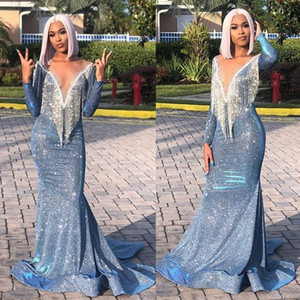 Wholesale 2019 Arabic Ice Blue Sequined Mermaid Evening Dresses Beaded Long Sleeve Illusion Neck Prom Dress Sexy Cheap Formal Party Pageant Gowns