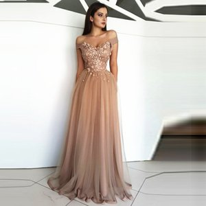 Wholesale Tulle Sparkly Appliques Custom Crystal Off Shoulder Evening Dress A Line Beading Guest Party Banquet Elegant Formal Prom Gowns Robe De Soire
