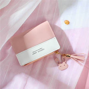 Wholesale Women Short Wallet Panelled Letters Small Zipper Purse Tassel Soft Wallets Cute Simple Card Holder Red Pink Money Bag