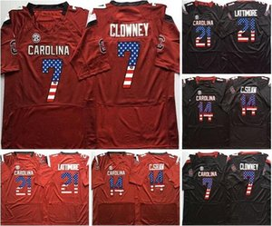 Wholesale NCAA Mens LATTIMORE CLOWNEY C SHAW Men College South Carolina Gamecock Red Black Flag Limited Football Jerseys
