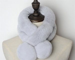 Manufacturers direct selling real rabbit fur fur scarf women winter warm thickened double tube ball ball pure color rex rabbit hair scarf