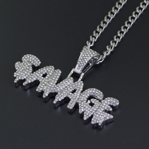 Wholesale hiphop jewelry resale online - 2019 New Men Hip Hop Iced out bling SAVAGE Pendant Necklaces Stainless Steel cm long cuban chain Necklace Hiphop jewelry gifts