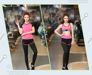 Wholesale summer women's yoga clothing suit fitness clothes short-sleeved quick-drying sports running suit 54 on Sale