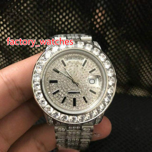 Wholesale NEW Luxury mm Big diamond watch high quality full silver diamond band Automatic Stainless steel men s watches