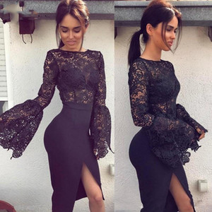 Sexy Split Lace Long Sleeve Cocktail Dresses Unique Knee Length Short Prom Party Dress For Women Cheap Black Homecoming Dress on Sale