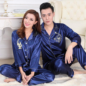 Wholesale- Winter Womens Mens Couple Silk Pajamas Suits Set Lapel Solid Long Sleeve Chinese Dragon Printing Pijamas Pyjamas Sleepwear