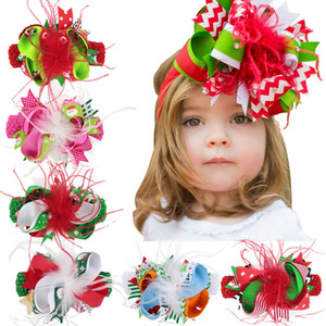 Wholesale Kids Christmas Bow Feather Headband Hair Clip Dual Use Handmade Bow Feather Barrettes Festival Baby Girls Headdress HHA653