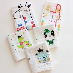 Wholesale 6 layer Newborn infant INS bibs muslin Burp Cloths baby girls boys Square scarf Cartoon Animal print Towel cotton gauze handkerchief C497