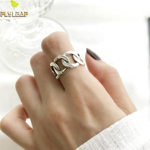 Wholesale Flyleaf Sterling Silver Rings For Women Wide Chain Square Bar Vintage High Quality Fashion Fine Jewelry Open Ring Femme