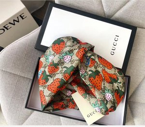 Wholesale Designer Silk Turban Headband hair bands for Women Summer New Itay Brand strawberry style Full G logo headbands Head Scarf Dropshipping